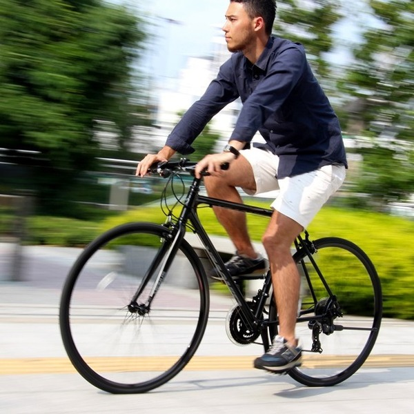 クロスバイク 700c(約28インチ)/ブラック(黒) シマノ21段変速 アルミフレーム 軽量 重さ11.2kg 【VENUS】 ビーナス CAC-021【代引不可】