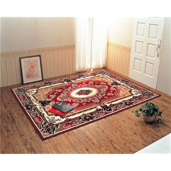 ウィルトン織 ラグマット/絨毯 【スミルナレッド系 3畳用】 160cm×230cm 長方形 ベルギー製 高耐久【代引不可】