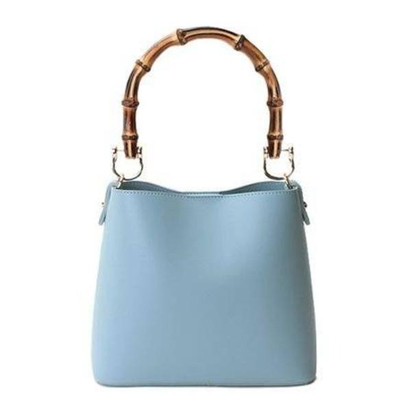 持ち手がポイント♪パカッと開く出し入れ便利なハンドバッグ/ブルー