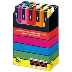 (業務用10セット) 三菱鉛筆 ポスカ/POP用マーカー 【中字 15色セット】 水性インク PC5M15C