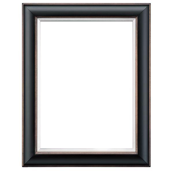 シンプル仕様 油絵額縁/油彩額縁 【F20 ブラック】 表面カバー:アクリル 吊金具付き 木製