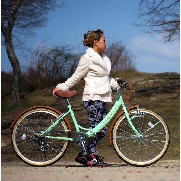 折りたたみ自転車 26インチ/グリーン(緑)×ブラウン 低床型 【Raychell】 レイチェル R-321N【代引不可】