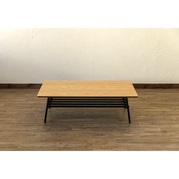棚付き折れ脚テーブル/折りたたみローテーブル 【幅105cm オーク】 棚板取り外し可 『Luster』 木目調 【完成品】【代引不可】