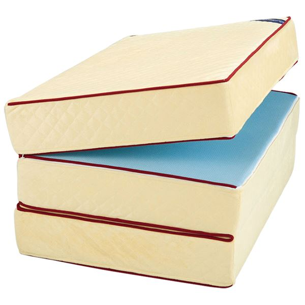 三つ折りマットレス/エクセレントスリーパー3 【厚さ10cm ダブルサイズ】 低反発タイプ 洗えるカバー
