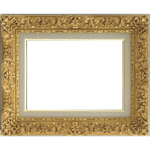 油絵額縁/油彩額縁 【F8 ダークゴールド】 総柄彫り 黄袋 吊金具付き