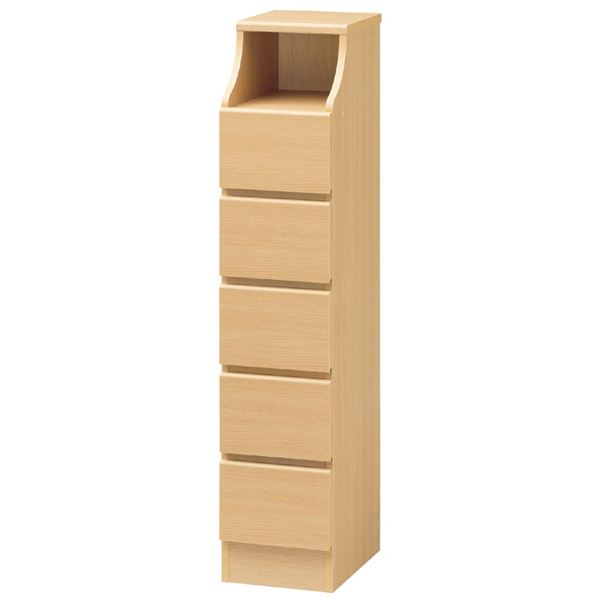 木製シンプルチェスト/収納タンス 【5段 幅28cm×高さ130cm】 ナチュラル 収納棚付き 組み立て簡単 『CHESCA チェスカ』【代引不可】