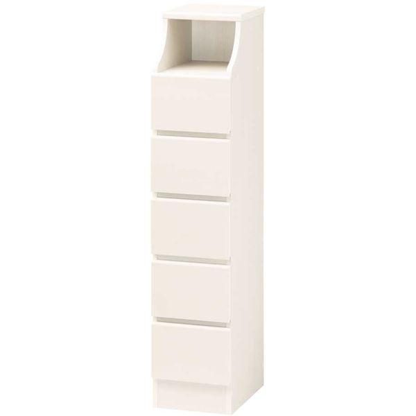 木製シンプルチェスト/収納タンス 【5段 幅28cm×高さ130cm】 ホワイト(白) 収納棚付き 組み立て簡単 『CHESCA チェスカ』【代引不可】