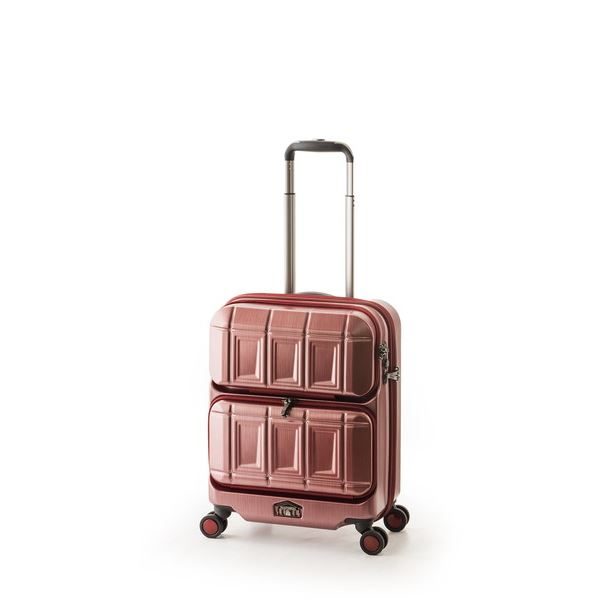 スーツケース 【マットブラッシュレッド】 36L 機内持ち込み可 ダブルフロントオープン アジア・ラゲージ 『PANTHEON』