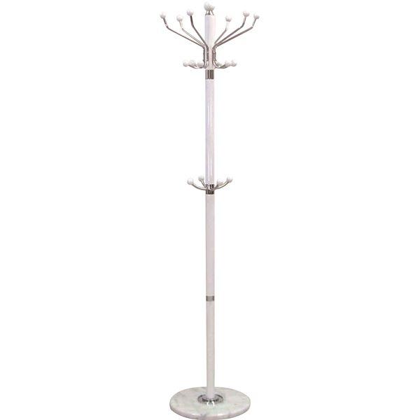 ポールハンガーA(衣類収納) 高さ182cm 大理石ベース×木製ポール 傘立て付き WH ホワイト(白)