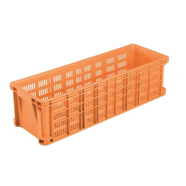 リステナー/網目コンテナボックス 【MB-52】 オレンジ メッシュ構造 〔みかん 果物 野菜等収穫 保管 保存 物流〕【代引不可】