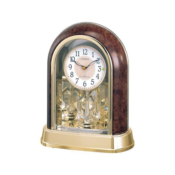 木目調 電波時計/置き時計 【スワロフスキー・クリスタル回転飾り】 全国対応電波時計 ステップ秒針 『パルドリーム』【代引不可】