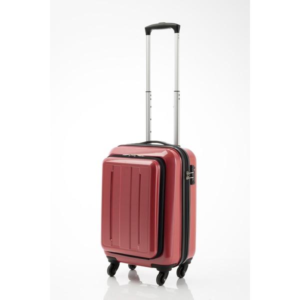 スーツケース/キャリーバッグ 【フロントオープン レッドカーボン】 29L 機内持ち込みサイズ 『マンハッタンエクスプレス』【代引不可】