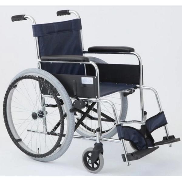 自走式折りたたみ車椅子 リーズ/レザーネイビーブルー(紺) 背面ポケット付き 【MIWA】 ミワ MW-22ST【代引不可】
