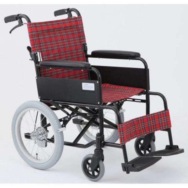 介助式折りたたみ車椅子 アミー16/ルビーレッド(赤) アルミ製 ノーパンク仕様/持ち手付き 【MIWA】 ミワ MW-16AN【代引不可】