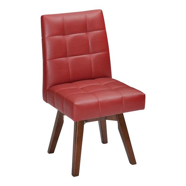 回転式 ダイニングチェアー/食卓椅子 【レッド】 1人掛け 幅44cm 木製脚付き 合皮/合成皮革 〔リビング〕【代引不可】