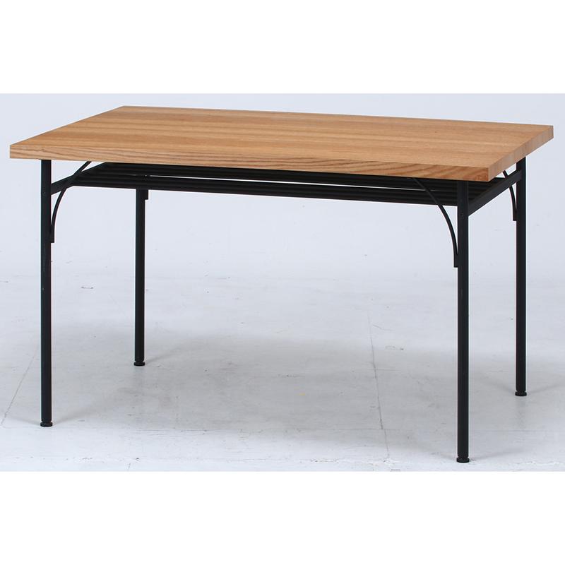 送料無料 ダイニングテーブル 単品 長方形 幅120cm 食卓テーブル 4人掛け 4人用 レアル テーブル 木製 スチール脚 棚付き リビングテーブル 北欧 シンプル モダン 高級感 おしゃれ デザイン ナチュラル