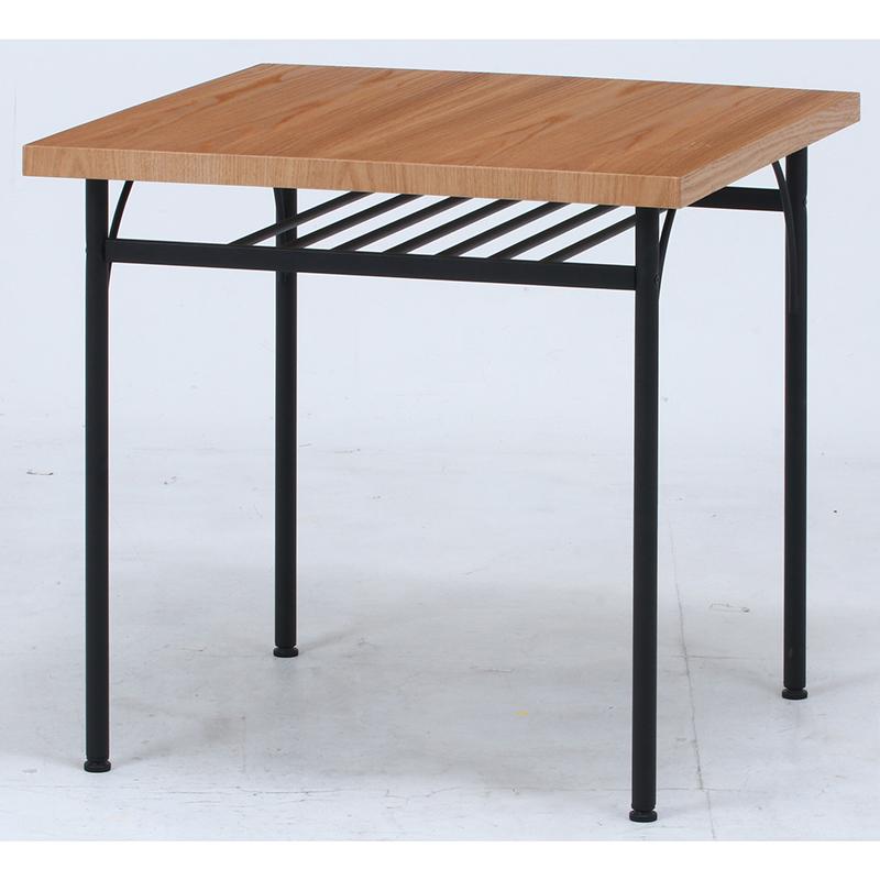 送料無料 ダイニングテーブル 単品 幅75cm 正方形 食卓テーブル 2人掛け 2人用 レアル テーブル 木製 スチール脚 棚付き リビングテーブル 北欧 シンプル モダン 高級感 おしゃれ デザイン ナチュラル