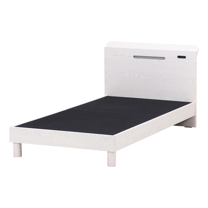 送料無料 木製ベッド ダブルベッド コンセント付き ベッド ベット ダブルサイズ フェルプス ベッドフレームのみ おしゃれ ホワイトウォッシュ