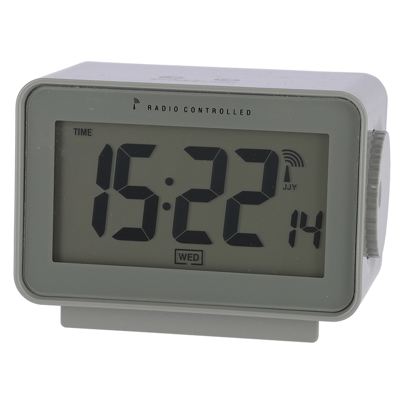 送料無料 6個セット 電波置時計アリア グリーン 置き時計 クロック 時計 シンプル モダン おしゃれ 時間 日付 アラーム スヌーズ 温度 湿度 バックライト