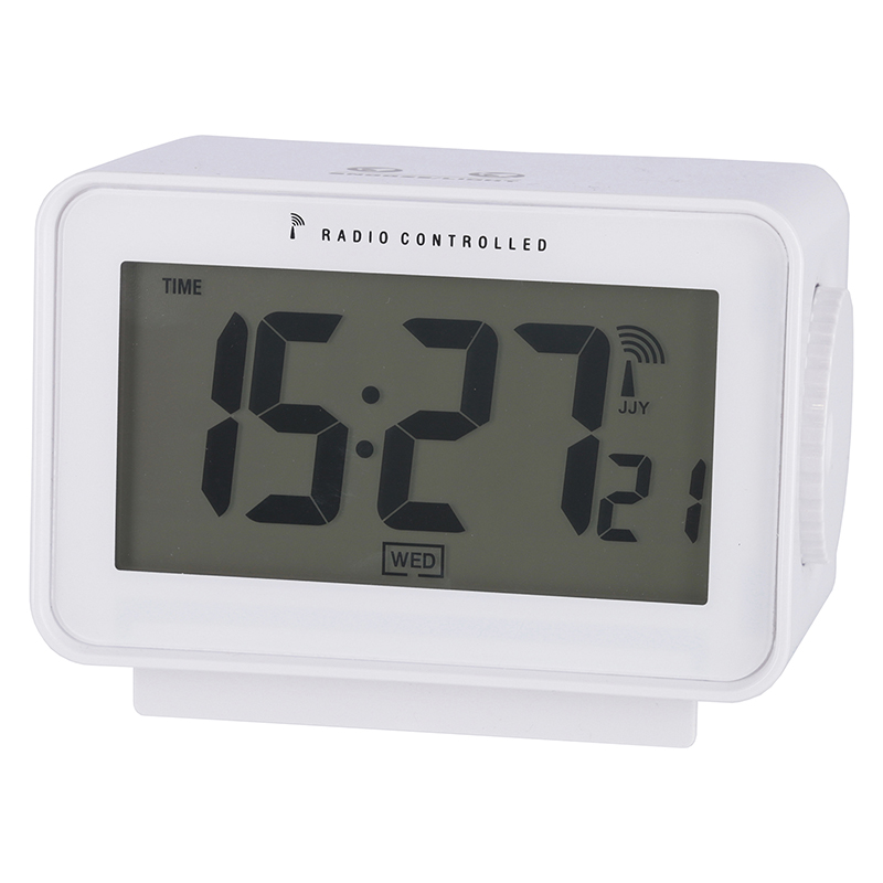 送料無料 6個セット 電波置時計アリア ホワイト 置き時計 クロック 時計 シンプル モダン おしゃれ 時間 日付 アラーム スヌーズ 温度 湿度 バックライト