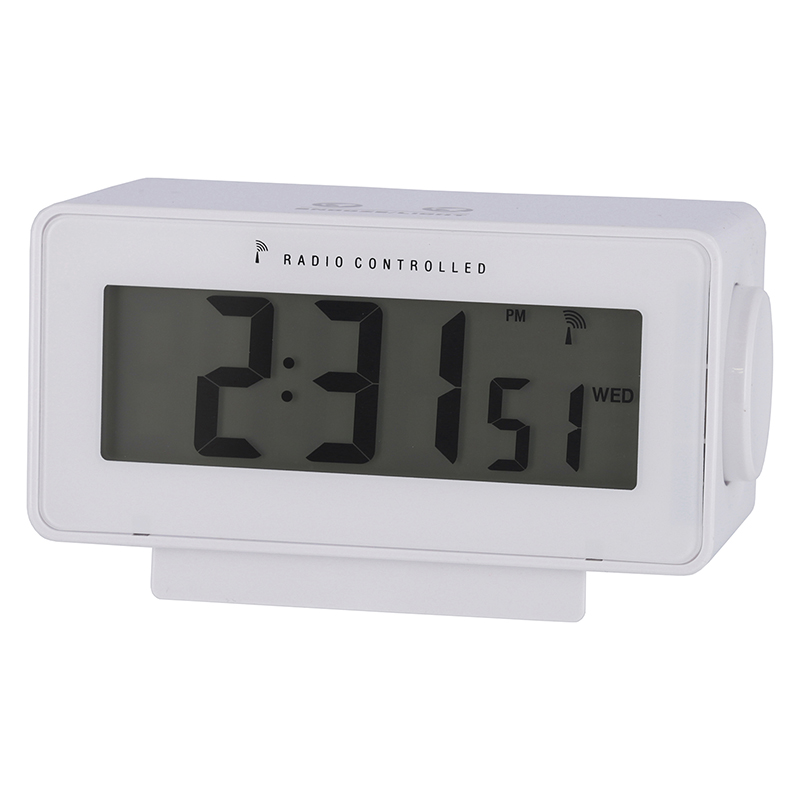 送料無料 6個セット 電波置時計ラルト ホワイト 時間 日付 アラーム スヌーズ 温度 湿度 バックライト 置き時計 クロック 時計 シンプル モダン おしゃれ