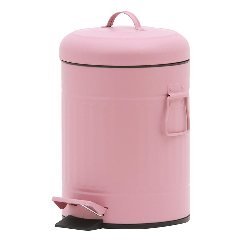 送料無料 6個セット スチール 円形 ラウンドペダルペール 5L ゴミ箱 ダストボックス ふた付き 蓋付き リビング キッチン シンプル 西海岸 男前インテリア おしゃれ かわいい ピンク