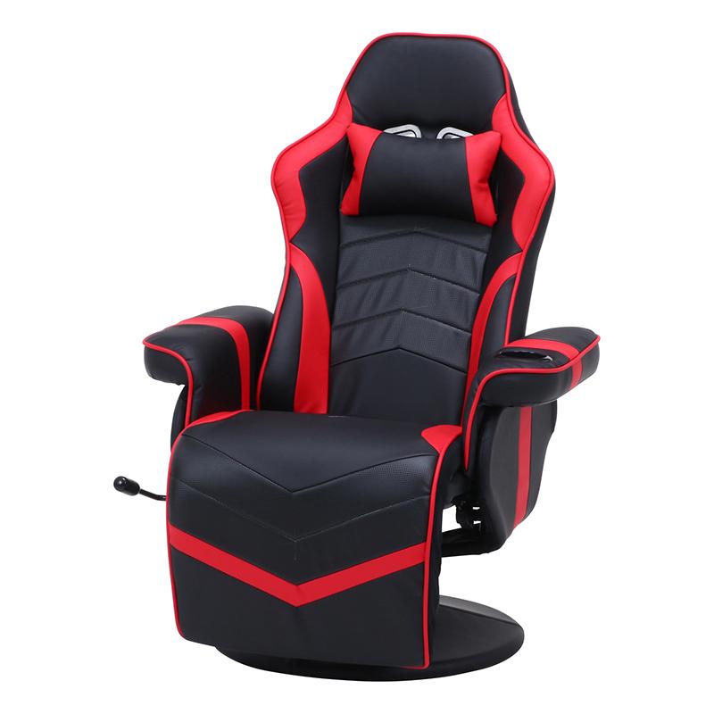 送料無料 ゲーミングパーソナルチェア ゲーミングチェア リクライニングチェア オフィスチェアー デスクチェアー イス 椅子 ゲーム用チェアー 一人掛け リラックスチェア シンプル モダン おしゃれ レッド