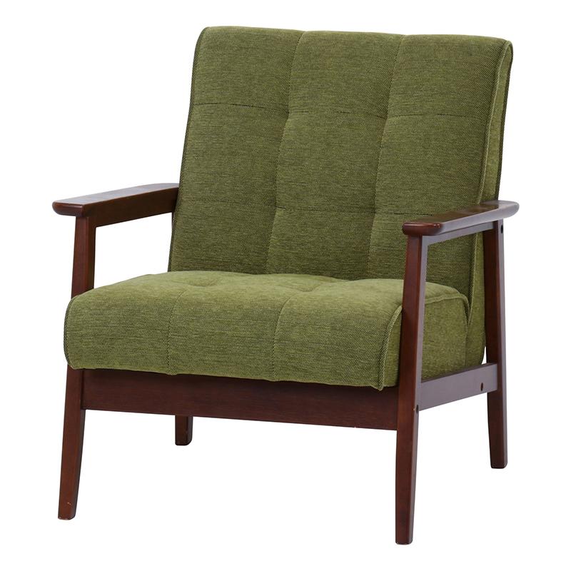 送料無料 ファブリックソファー 1人掛け コンパクト 幅65cm ソファ ソファー 1人がけ 肘付き リビングソファー いす 椅子 チェア 北欧 モダン シンプル おしゃれ 高級感 グリーン