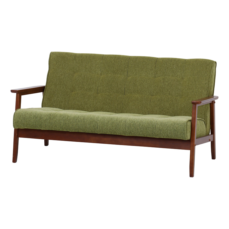 送料無料 ファブリックソファー 2人掛け コンパクト 幅135cm ソファ ソファー 2人がけ 肘付き リビングソファー いす 椅子 チェア 北欧 モダン シンプル おしゃれ 高級感 グリーン