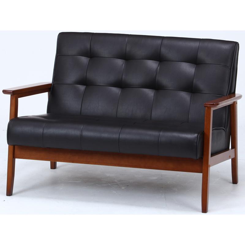 送料無料 バイキャストPUソファー 1.5人掛け 合皮 コンパクト 幅104cm ソファ ソファー 1.5人がけ 肘付き リビングソファー いす 椅子 チェア 北欧 モダン シンプル おしゃれ 高級感 ダークブラウン