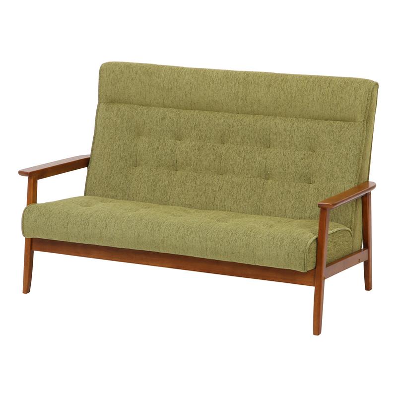 送料無料 ハイバックファブリックソファー 2人掛け コンパクト 幅135cm ソファ ソファー 2人がけ 肘付き リビングソファー いす 椅子 チェア 北欧 モダン シンプル おしゃれ 高級感 グリーン