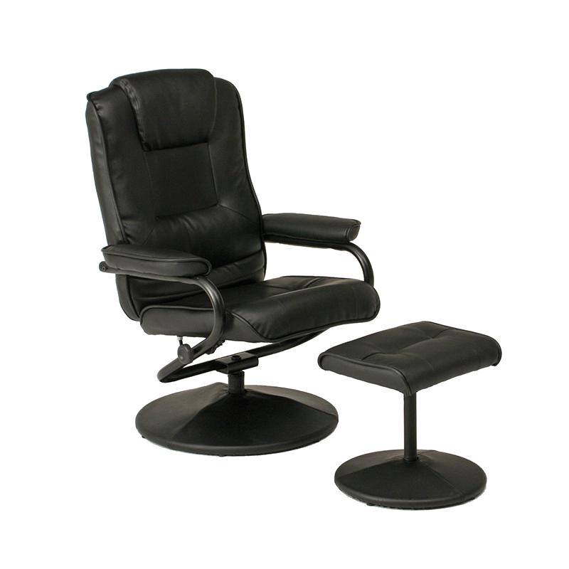 送料無料 パーソナルチェアー パーソナルチェア オットマン セット リクライニング パーソナル チェアー 脚置き イス チェア 椅子 一人掛け リラックスチェア レザー シンプル モダン おしゃれ ブラック