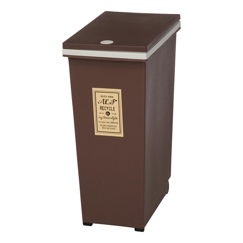 送料無料 4個セット プッシュ式ダストボックス 45L ブラウン キャスター付き ふた付き 蓋付き ゴミ箱 くずかご くず入れ キッチン リビング 寝室 コンパクト シンプル 西海岸 男前インテリア おしゃれ かわいい