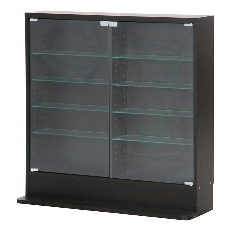 送料無料 ガラスコレクションケース ロータイプ 浅型 ガラスケース コレクションラック ディスプレイラック ミニカー フィギュア おしゃれ ブラック