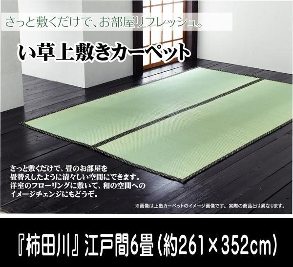 い草 上敷き カーペット 6畳 国産 糸引織 『柿田川』 江戸間6畳 (約261×352cm)