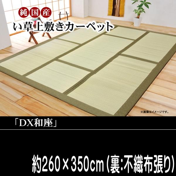 い草ラグ カーペット 国産 『DX和座』 グリーン 約260×350cm (裏:不織布張り)