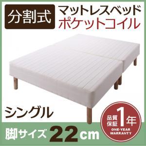 送料無料 分割式ポケットコイルマットレスベッド 脚22cm シングル マットレスベッド シングルベッド 脚付き 分割 脚付きマットレスベッド 脚付マット 脚付マットレス ベッド 子供部屋 一人暮らし ワンルーム 寝室 ベッドの下を有効活用