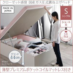 お客様組立 クローゼット跳ね上げベッド aimable エマーブル 薄型プレミアムポケットコイルマットレス付き 縦開き シングル ショート丈 深さグランド