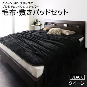 クイーン・キングサイズのプレミアムマイクロファイバー毛布・敷きパッド denoir ディノワー 毛布・パッドセット クイーン 保温性 ボリューム 高級感 シンプル おしゃれ あったかい ふかふか ベーシック:家具のショウエイ