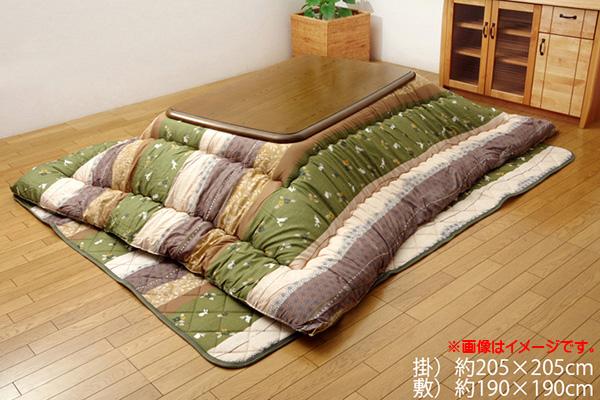 こたつ布団 正方形 掛敷セット 和柄 『こよみ』 グリーン 約205×205cm (厚掛けタイプ)
