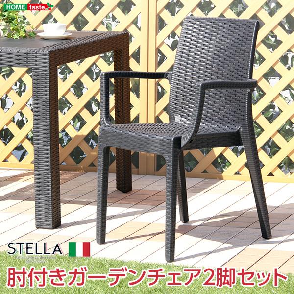 送料無料 ガーデンチェア 2脚セット 肘付チェア ステラ STELLA ガーデン カフェ ガーデンチェアー 2脚組 ラタン調 プラスチック 洗える スタッキング スタッキングチェアー 重ねる 軽量 イタリア 完成品