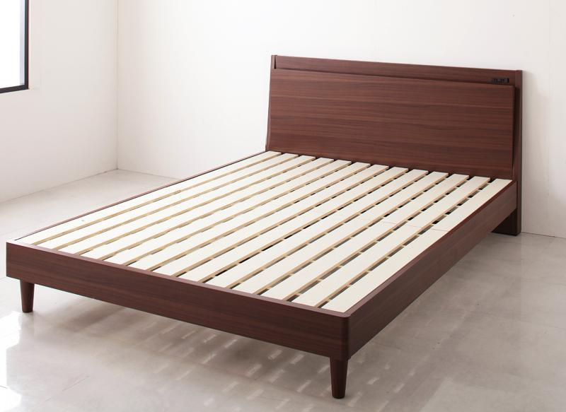 すのこベッド ダブル ベッド フレームのみ モダンライト照明付き コンセント付き ダブルベッド ベット スリムヘッドボード 棚 デザインすのこベッド ライツフォル 省スペース 木脚 レッグ 木製ベッド 高級感 背面化粧 おしゃれ 民泊 ホテル 北欧