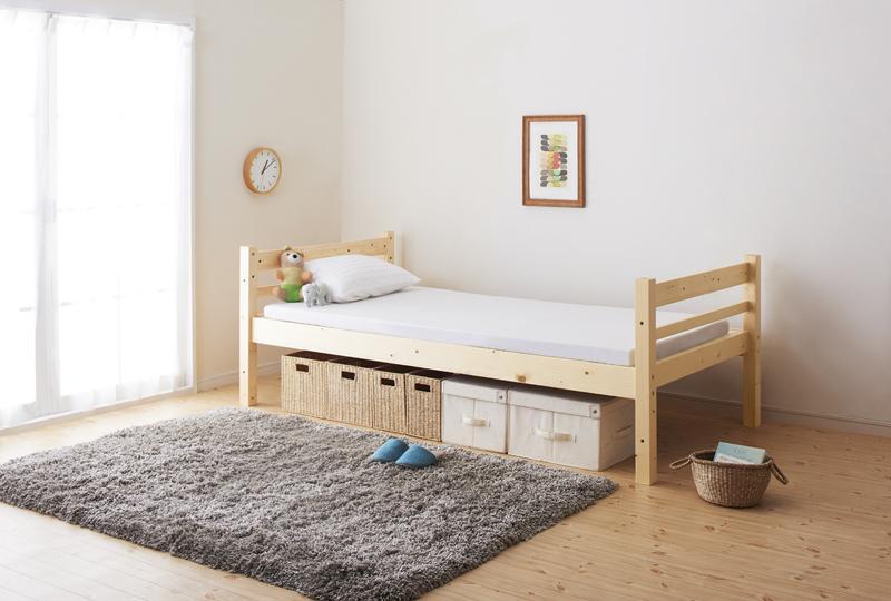 タイプが選べる頑丈ロータイプ収納式3段ベッド【fericica】フェリチカ シングルタイプ