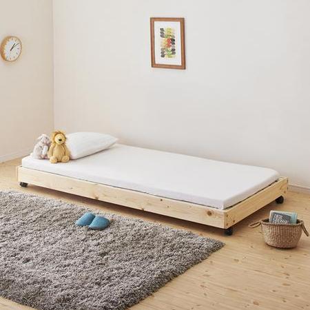 タイプが選べる頑丈ロータイプ収納式3段ベッド【fericica】フェリチカ キャスター付シングルタイプ