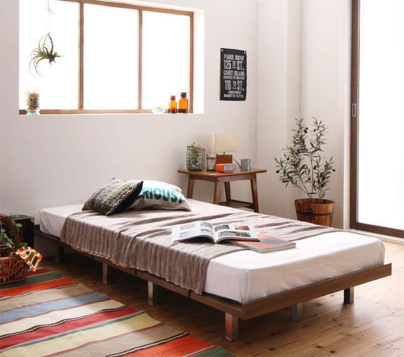 送料無料 ローベッド フロアベッド 木製 ベッド ショート丈 デザインボードベッド キャタルパスチール脚タイプ(ショート丈フレーム:シングル)+(マットレス:シングル)マットレスの種類:スタンダードボンネルコイルマットレス付き