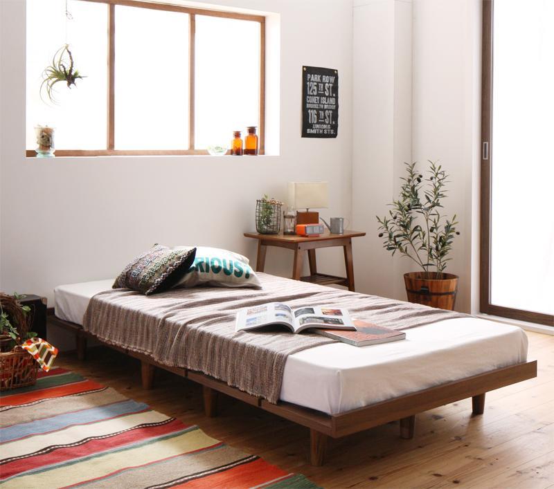 送料無料 ローベッド フロアベッド 木製 ベッド ショート丈 デザインボードベッド キャタルパ木脚タイプ(ショート丈フレーム:セミシングル)+(マットレス:セミシングル)マットレスの種類:スタンダードポケットコイルマットレス付き