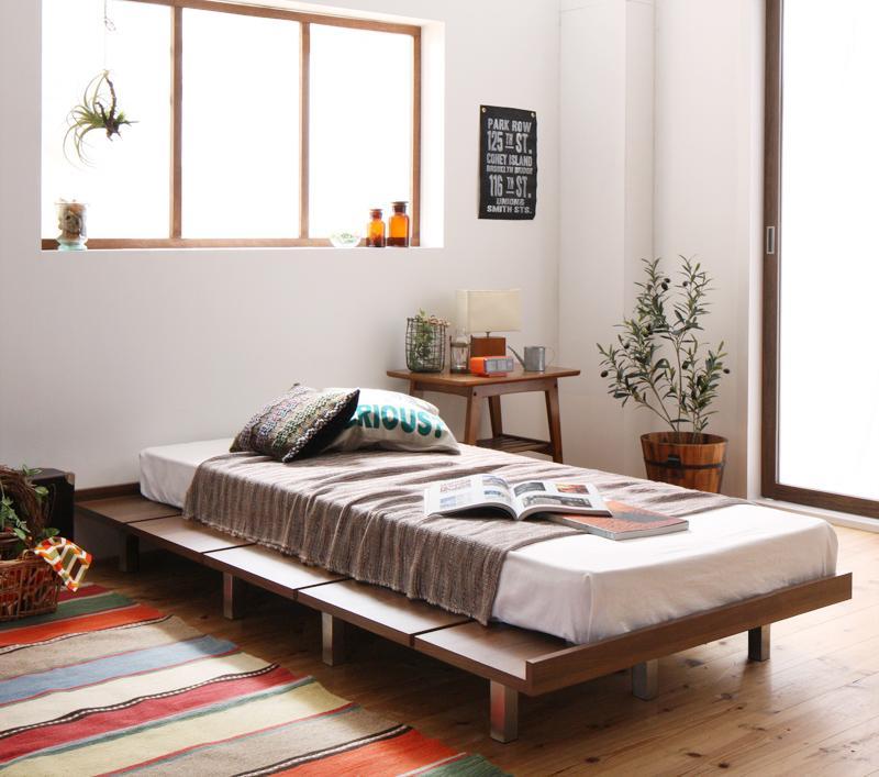 送料無料 ローベッド フロアベッド 木製 ベッド ショート丈 デザインボードベッド キャタルパスチール脚タイプ(ショート丈フレーム:シングル)+(マットレス:セミシングル)マットレスの種類:スタンダードボンネルコイルマットレス付き
