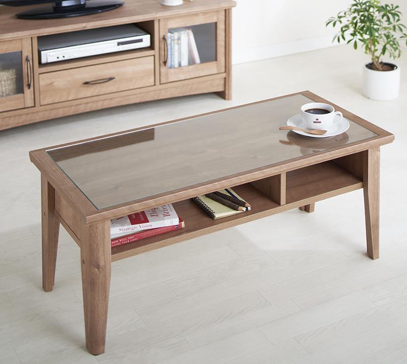 送料無料 ローテーブル 木製 オーク調リビング収納 オリア テーブル ガラステーブル センターテーブル 棚付き レトロ 一人暮らし おしゃれ