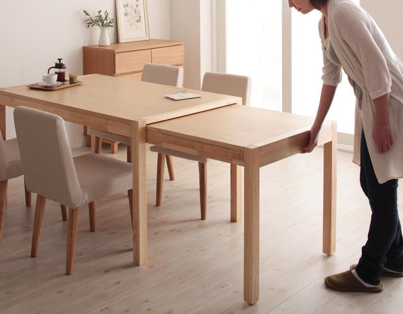 送料無料 テーブル単品 スライド伸縮テーブル 伸長ダイニングテーブル グライド 135cmから最大235cm 4人から8人用 伸長式 伸縮 伸縮式 エクステンションテーブル 食卓テーブル キャスター付き 天然木 木製テーブル ワイド おしゃれ 北欧 かわいい