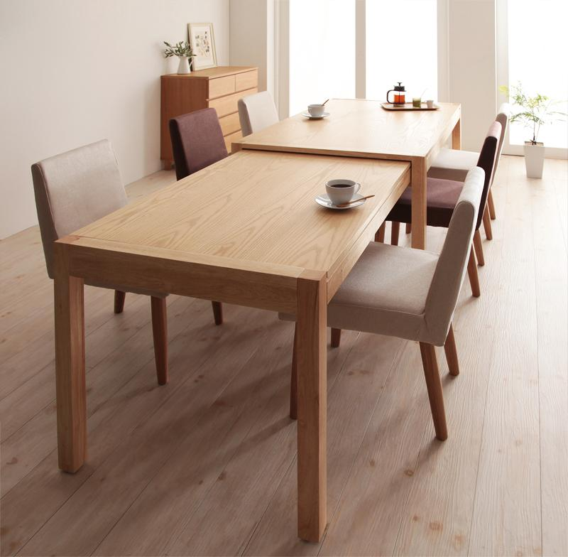 送料無料 ダイニングセット 7点セット(テーブル+チェア×6) スライド伸縮テーブル グライド 6人用 伸長式 伸縮 伸縮式 エクステンションテーブル 食卓テーブルセット 食卓セット キャスター付き 天然木 木製テーブル ワイド おしゃれ 北欧 かわいい